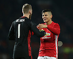 David De Gea of Manchester United celebrates with Marcos Rojo of Manchester United during the English League Cup Quarter Final match at Old Trafford  Stadium, Manchester. Picture date: November 30th, 2016. Pic Simon Bellis/Sportimage