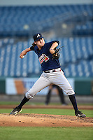 Cole Sands (26) of North Florida Christian School in Tallahassee, Florida playing for the Atlanta Braves scout team during the East Coast Pro Showcase on August 1, 2014 at NBT Bank Stadium in Syracuse, New York.  (Mike Janes/Four Seam Images)