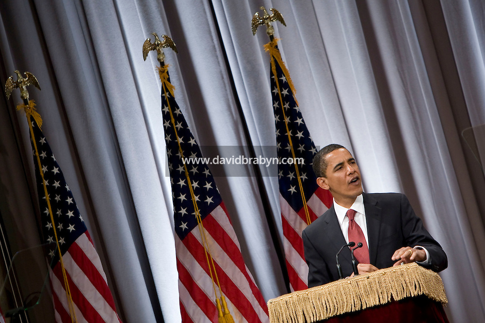 Democratic presidential hopeful Senator Barack Obama delivers a speech on the economy at The Cooper Union for the Advancement of Science and Art in New York City,  27 March 2008.
