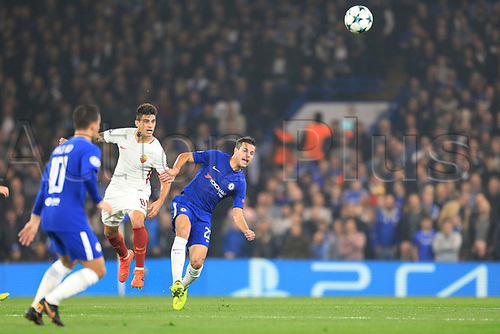 18th October 2017, Stamford Bridge, London, England; UEFA Champions League, Chelsea versus Roma; Cesar Azpilicueta of Chelsea clears the ball away from Diego Perotti of Roma