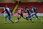 David Brooks of Sheffield United takes on three Leyton Orient players during the Emirates FA Cup Round One match at Bramall Lane Stadium, Sheffield. Picture date: November 6th, 2016. Pic Simon Bellis/Sportimage