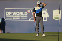 Rory McIlroy (NIR) on the 18th during the 3rd round of the DP World Tour Championship, Jumeirah Golf Estates, Dubai, United Arab Emirates. 23/11/2019<br /> Picture: Golffile | Fran Caffrey<br /> <br /> <br /> All photo usage must carry mandatory copyright credit (© Golffile | Fran Caffrey)