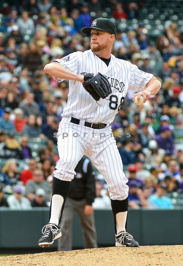 Colorado Rockies Josh Outman (88) during a game against the Tampa Bay Rays on May 5, 2013 at Coors Field in Denver, CO. The Rays beat the Rockies 8-3..