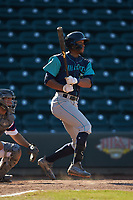 Will Benson (16) of the Lynchburg Hillcats follows through on his swing against the Winston-Salem Rayados at BB&T Ballpark on June 23, 2019 in Winston-Salem, North Carolina. The Hillcats defeated the Rayados 12-9 in 11 innings. (Brian Westerholt/Four Seam Images)