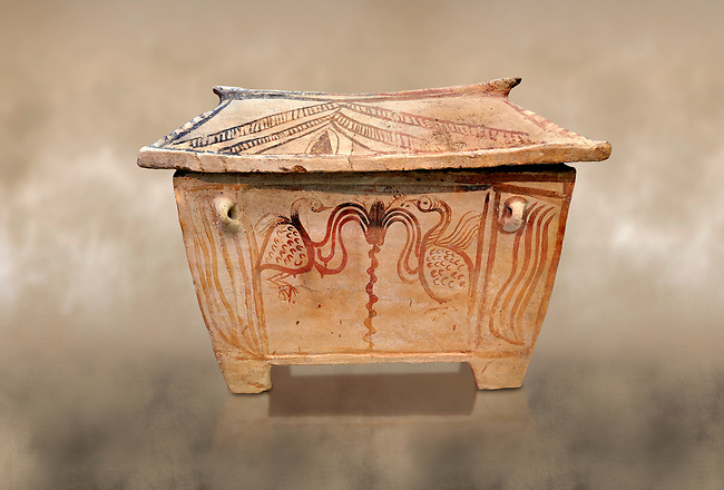 Minoan  pottery gabled larnax coffin chest with bird and floral decorations,   1370-1250 BC, Heraklion Archaeological  Museum.