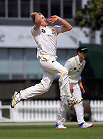 Logan Van Beek bowls on day three of the Plunket Shield cricket match between the Wellington Firebirds and Otago Volts at the Hawkins Basin Reserve in Wellington, New Zealand on Wednesday, 1 November 2017. Photo: Dave Lintott / lintottphoto.co.nz