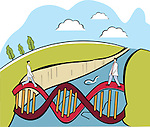 Two scientists crossing a DNA bridge