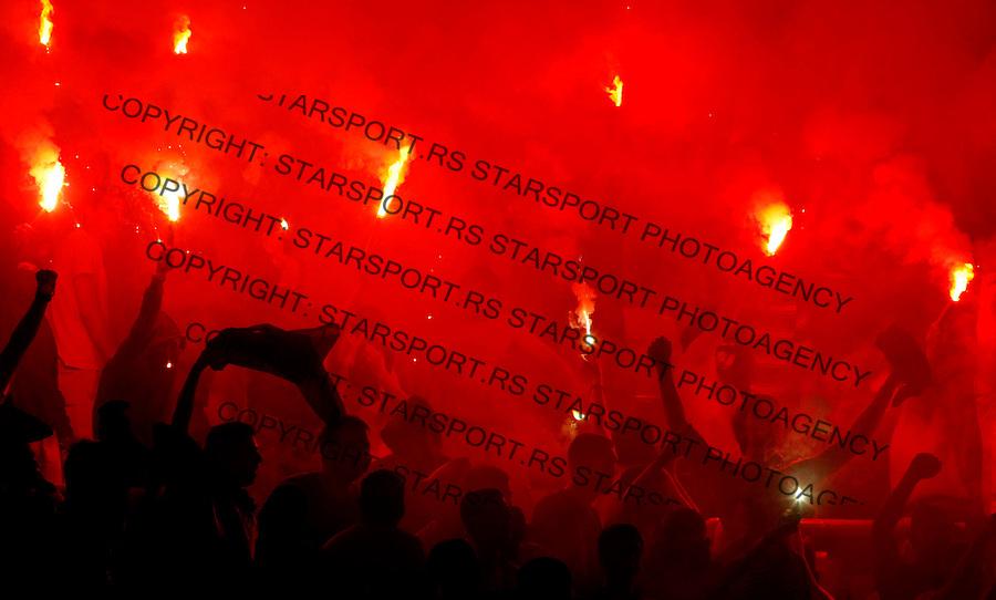 Fudbal.FK Crvena Zvezda Vs. FK Rad.Delije, navijaci, baklje, fans, supporters, flairs.Beograd, 23.08.2009..foto: Srdjan Stevanovic/Starsportphoto ©