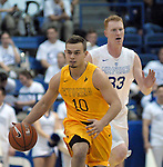 February 4, 2017:  Wyoming guard, Cody Kelley #10, brings the ball upcourt during the NCAA basketball game between the Wyoming Cowboys and the Air Force Academy Falcons, Clune Arena, U.S. Air Force Academy, Colorado Springs, Colorado.  Wyoming defeats Air Force 83-74.