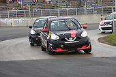 Nissan Micra Cup race on a wet race track held during the GP3R weeend in Trois-Rivieres, Quebec
