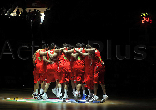 Sep 08, 2010; Istanbul, TURKEY; Serbia defeats Spain 92:89 in a quarterfinal match of the 2010 FIBA World Championship at the Abdi Ipekci Arena. Players of Spain before the game.