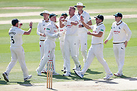Stuart Broad of Notts celebrates with his team mates after taking the wicket of Alastair Cook during Essex CCC vs Nottinghamshire CCC, Specsavers County Championship Division 1 Cricket at The Cloudfm County Ground on 15th May 2019
