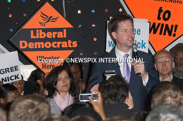 """NICK CLEGG SUPPORTED BY WIFE MIRIAM GONZALEZ DURANTEZ.on the election trail, Brixton, South London_03/05/2010.Mandatory Credit Photo: ©DIAS-NEWSPIX INTERNATIONAL..**ALL FEES PAYABLE TO: """"NEWSPIX INTERNATIONAL""""**..IMMEDIATE CONFIRMATION OF USAGE REQUIRED:.Newspix International, 31 Chinnery Hill, Bishop's Stortford, ENGLAND CM23 3PS.Tel:+441279 324672  ; Fax: +441279656877.Mobile:  07775681153.e-mail: info@newspixinternational.co.uk"""