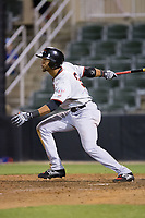 Leody Taveras (3) of the Hickory Crawdads follows through on his swing against the Kannapolis Intimidators at Kannapolis Intimidators Stadium on April 22, 2017 in Kannapolis, North Carolina.  The Intimidators defeated the Crawdads 10-9 in 12 innings.  (Brian Westerholt/Four Seam Images)