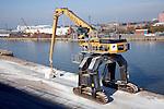 MultiDock crane, Albert Dock, Hull, Yorkshire, England once the of the home fishing fleet now almost deserted.