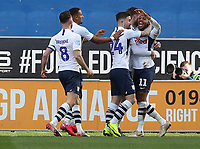 8th February 2020; DW Stadium, Wigan, Greater Manchester, Lancashire, England; English Championship Football, Wigan Athletic versus Preston North End;  Daniel Johnson of Preston North End celebrates with his team mates after scoring to give his side a 0-2 lead after 47 minutes
