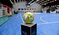 20200129 – Herentals , BELGIUM : Uefa Futsal ball pictured during a futsal indoor soccer game between Armenia and  the Belgian Futsal Devils of Belgium on the first matchday in group B of the UEFA Futsal Euro 2022 Qualifying or preliminary round , Wednesday 29 th January 2020 at the Sport Vlaanderen sports hall in Herentals , Belgium . PHOTO SPORTPIX.BE | DAVID CATRY