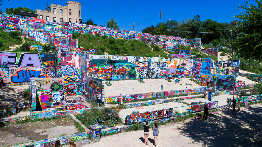 The HOPE Outdoor Gallery is a very colorful community paint park and is open for artist to paint whatever inspires them in downtown Austin, Texas.