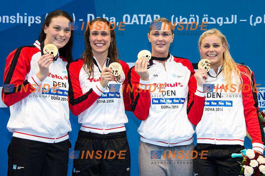Denmark Gold Medal WR<br /> Women's Medley 4x50m Final<br /> Doha Qatar 05-12-2014 Hamad Aquatic Centre, 12th FINA World Swimming Championships (25m). Nuoto Campionati mondiali di nuoto in vasca corta.<br /> Photo Giorgio Scala/Deepbluemedia/Insidefoto