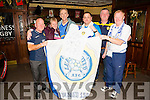 Tony O'Neill (third from right) making a presentation of a Leeds football jersey signed by the team to Leeds supporter Joe Flynn at the Castle Bar on Thursday night.From left: Joe Hanley, Anne Pullen, Joe Flynn, Tony O'Neill, Joe Quirke, and Michael (Fox) O'Connor.