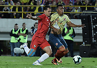 BOGOTA - COLOMBIA, 03-06-2019: Roger Martinez jugador de Colombia disputa el balón con Jan Carlos Vargas jugador de Panamá durante partido amistoso entre Colombia y Panamá jugado en el estadio El Campín en Bogotá, Colombia. / Roger Martinez player of Colombia fights the ball with Jan Carlos Vargas player of Panama during a friendly match between Colombia and Panama played at Estadio El Campin in Bogota, Colombia. Photo: VizzorImage/ Gabriel Aponte / Staff