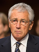 """United States Secretary of Defense Chuck Hagel appears before the U.S. Senate Foreign Relations Committee to testify on """"Authorization of Use of Force in Syria""""  on Capitol Hill in Washington, D.C. on Tuesday, September 3, 2013.<br /> Credit: Ron Sachs / CNP"""