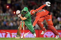 10th January 2020; Marvel Stadium, Melbourne, Victoria, Australia; Big Bash League Cricket, Melbourne Renegades versus Melbourne Stars; Seb Gotch of the Stars runs out Will Sutherland of the Renegades - Editorial Use