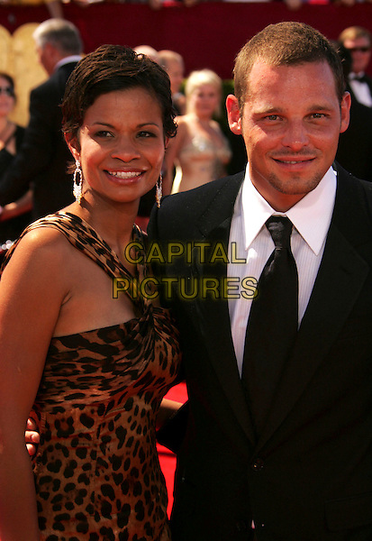 KEISHA CHAMBERS & JUSTIN CHAMBERS.58th Annual Primetime Emmy Awards held at the Shrine Auditorium, Los Angeles, California, USA..August 27th, 2006.Ref: ADM/RE.half length leopard print husband wife married.www.capitalpictures.com.sales@capitalpictures.com.©Russ Elliot/AdMedia/Capital Pictures.