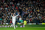Real Madrid´s spanish defender Sergio Ramos celebrates a goal during the king´s cup football match with Atletico de Madrid vs Real Madrid at the Santiago Bernabeu stadium in Madrid on Jaunary 15, 2015. Samuel de Roman / Photocall3000.