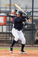 GCL Yankees 2 outfielder Jose Augusto Figueroa (33) at bat during a game against the GCL Braves on June 23, 2014 at the Yankees Minor League Complex in Tampa, Florida.  GCL Yankees 2 defeated the GCL Braves 12-4.  (Mike Janes/Four Seam Images)