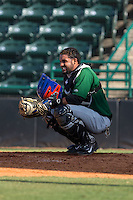Savannah Sand Gnats catcher Adrian Abreu (24) grimaces in pain after taking a foul ball off his left shoulder during the game against the Hickory Crawdads at L.P. Frans Stadium on June 14, 2015 in Hickory, North Carolina.  The Crawdads defeated the Sand Gnats 8-1.  (Brian Westerholt/Four Seam Images)