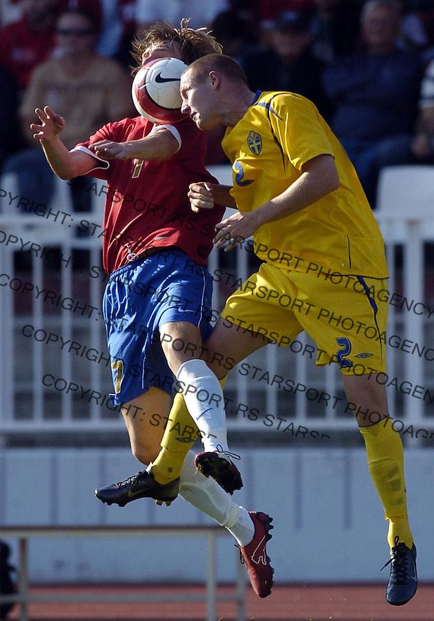 SPORT FUDBAL SRBIJA SVEDSKA REPREZENTACIJA SOCCER FOOTBALL U21 MLADI NOVI SAD  6.10.2006. photo: Pedja Milosavljevic<br />