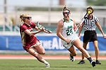 RICHMOND, VA - APRIL 27: Notre Dame's Casey Pearsall (24) and Boston College's Elizabeth Miller (left). The Notre Dame Fighting Irish played the Boston College Eagles on April 27, 2017, at Sports Backers Stadium in Richmond, VA in an ACC Women's Lacrosse Tournament quarterfinal match. Boston College won the game 17-14.