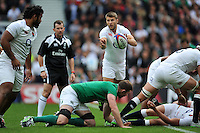 Richard Wigglesworth of England passes the ball. QBE International match between England and Ireland on September 5, 2015 at Twickenham Stadium in London, England. Photo by: Patrick Khachfe / Onside Images