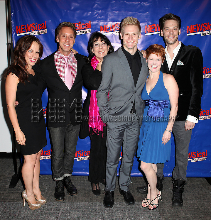 Leslie Kritzer, Michael West, Christine Pedi Tommy Walker, Amy Griffin & Ryan Knowles  attending the Opening Night Performance of Perez Hilton in 'NEWSical The Musical' at the Kirk Theatre  in New York City on September 17, 2012.