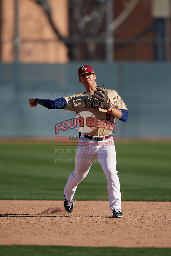 Aidan Rodriguez during the Under Armour All-America Pre-Season Tournament, powered by Baseball Factory, on January 19, 2019 at Fitch Park in Mesa, Arizona.  Aidan Rodriguez is a shortstop from Yuma, Arizona who attends Yuma Catholic High School.  (Mike Janes/Four Seam Images)