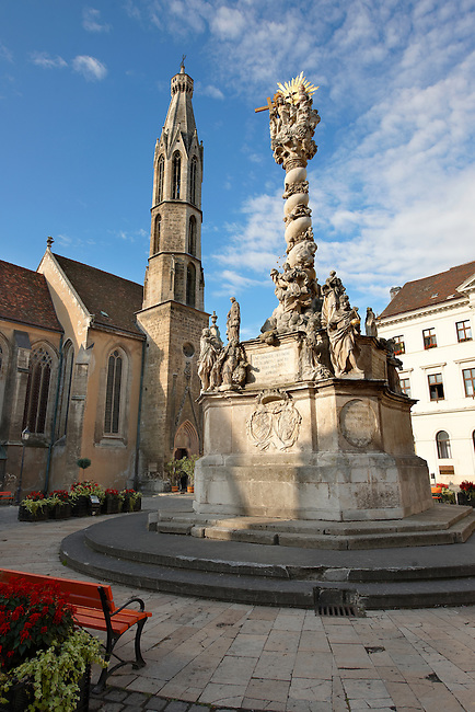 The Holy Trinity Statue and the Goat's Church (Kecske templom )- Fo Square (F? Ter) - Sopron, Hungary
