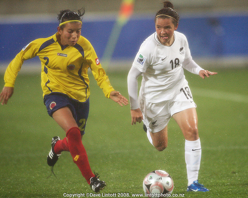 Columbia's Lina Taborda chases Lauren Mathis into the box during the FIFA Women's Under-17 World Cup pool match between New Zealand and Columbia at Westpac Stadium, Wellington, New Zealand on Tuesday, 4 November 2008. Photo: Dave Lintott / lintottphoto.co.nz