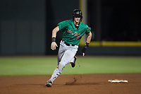 Sam Huff (28) of the Down East Wood Ducks hustles towards third base against the Winston-Salem Dash at BB&T Ballpark on May 10, 2019 in Winston-Salem, North Carolina. The Wood Ducks defeated the Dash 9-2. (Brian Westerholt/Four Seam Images)