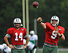 Bryce Petty #9, New York Jets quarterback, right, throws a pass as starting quarterback #14 Ryan Fitzpatrick watches during training camp at Atlantic Health Jets Training Center in Florham Park, NJ on Saturday, Aug. 13, 2016.