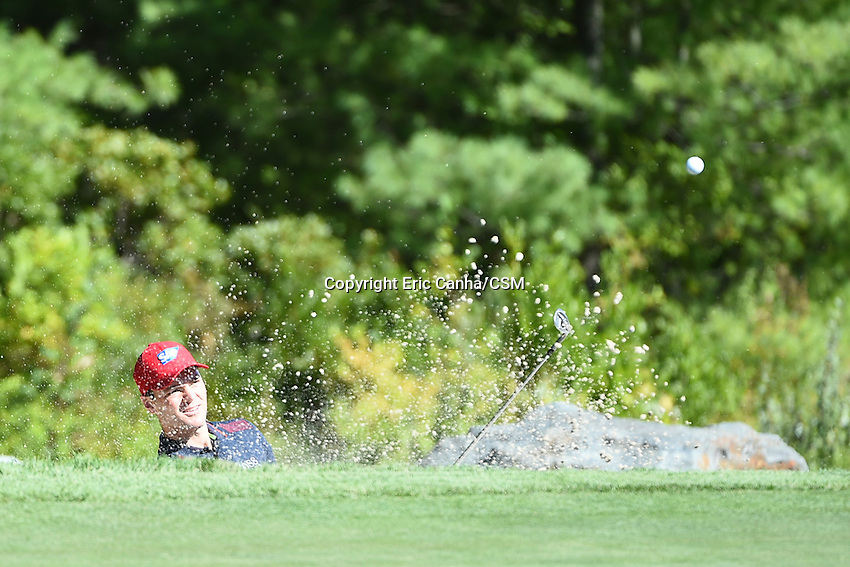 August 29, 2014 -  Norton, Mass. - Martin Kaymer kits his way out of the sand trap on the 3rd hole during the first round of the PGA Deutsche Bank Championship held at the Tournament Players Club in Norton Massachusetts. Eric Canha/CSM