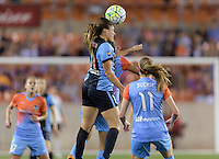 Houston Texas -Sofia Huerta (11) of the Chicago Red Stars wins a header over the Houston Dash in the first half on  Saturday, April 16, 2016 at BBVA Compass Stadium in Houston Texas.  The Houston Dash defeated the Chicago Red Stars 3-1.