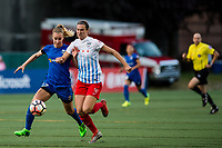 Seattle, WA - Wednesday, June 28, 2017: Kathleen Naughton and Beverly Yanez during a regular season National Women's Soccer League (NWSL) match between the Seattle Reign FC and the Chicago Red Stars at Memorial Stadium.