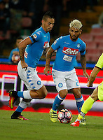 Marek Hamsik  and Lorenzo Insigne  during the  italian serie a soccer match,between SSC Napoli and   Bologna FC    at  the San  Paolo   stadium in Naples  Italy , September 18, 2016