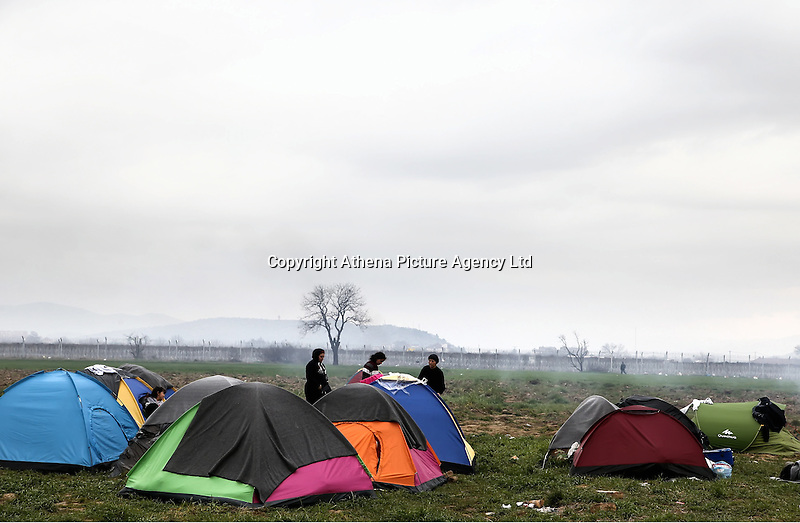 Pictured: The camp at Idomeni Monday 07 March 2016<br /> Re: Refugees at the Greek FYRO Macedonian border in Idomeni, Greece.