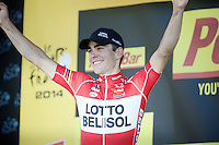 podium joy for Tony Gallopin (FRA/Lotto-Belisol)<br /> <br /> 2014 Tour de France<br /> stage 11: Besan&ccedil;on - Oyonnax (187km)