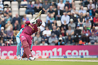 Shimron Hetmyer (West Indies) drives Adil Rashid (England) over mid on for four during England vs West Indies, ICC World Cup Cricket at the Hampshire Bowl on 14th June 2019