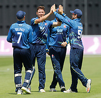Matt Henry of Kent enjoys a high-five with Sean Dickson after he bowled Hankins during the Royal London One Day Cup game between Kent and Gloucestershire at the County Ground, Beckenham, on June 3, 2018