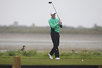 Robin Dawson from Ireland on the 10th tee during Round 3 Foursomes of the Men's Home Internationals 2018 at Conwy Golf Club, Conwy, Wales on Friday 14th September 2018.<br /> Picture: Thos Caffrey / Golffile<br /> <br /> All photo usage must carry mandatory copyright credit (&copy; Golffile | Thos Caffrey)