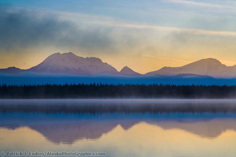 Mount Drum and mount Sanford of the Wrangell Mountains, Wrangell St. Elias National Park, Alaska.
